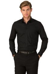 City Stretch® Mens  Black Long Sleeved Shirt