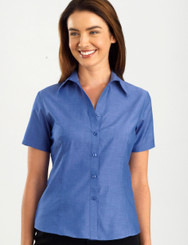 John Kevin Women's Short Sleeve Indigo Blue Chambray