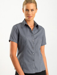 John Kevin Women's Short Sleeve Pin Stripe