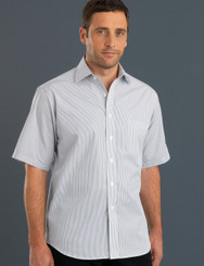 John Kevin Mens Short Sleeve Herringbone Stripe Shirt