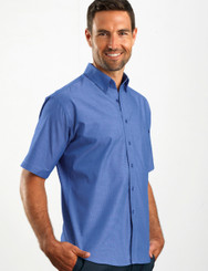 John Kevin Mens Short Sleeve Chambray Shirt