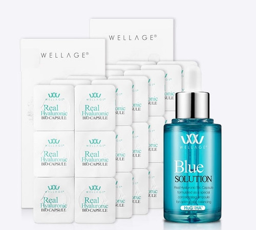 WELLAGE Real HA Hyaluronic BIO Capsule & Blue Solution (36pcs, 45ml)/Korea Cosmetics
