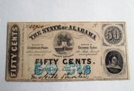 Original Confederate Alabama Fifty-Cent Note, 1863