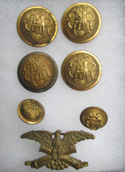 Civil War GAR collection of Eagle Pin and buttons