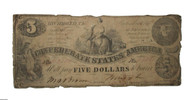 Confederate Five-Dollar bill, September 1861