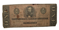 Original Confederate One-Dollar bill, 1864