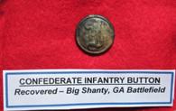 "Rare - Confederate Solid-cast Script Infantry ""I"" button, Big Shanty, GA"