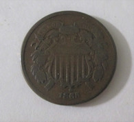 Civil War 2 cent coin, dated 1865