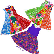 Kaleidoscope Reversible Twirly Dress | Electric Zippy Dance