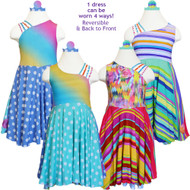 Swizzle Swirl Reversible Dress |  Whirly Rainbow Diamonds