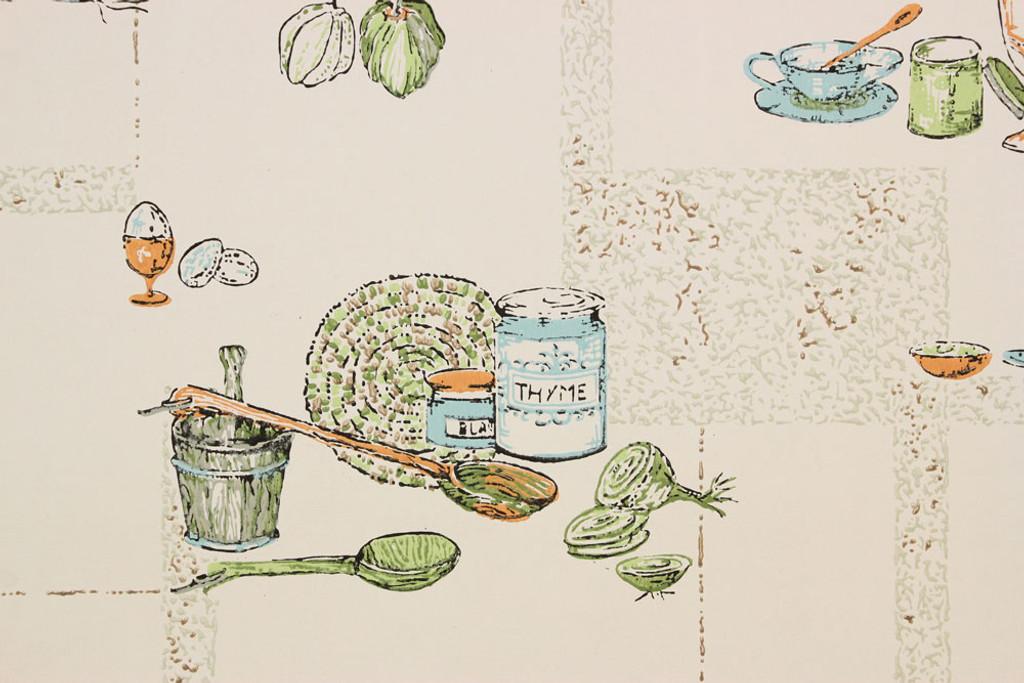 1970s Vintage Wallpaper Aqua and Orange Kitchen