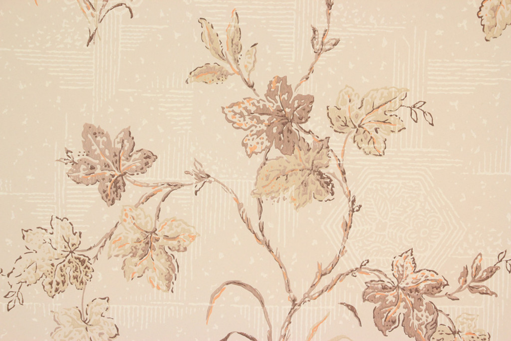 1950s Vintage Wallpaper Brown Leaves on Beige