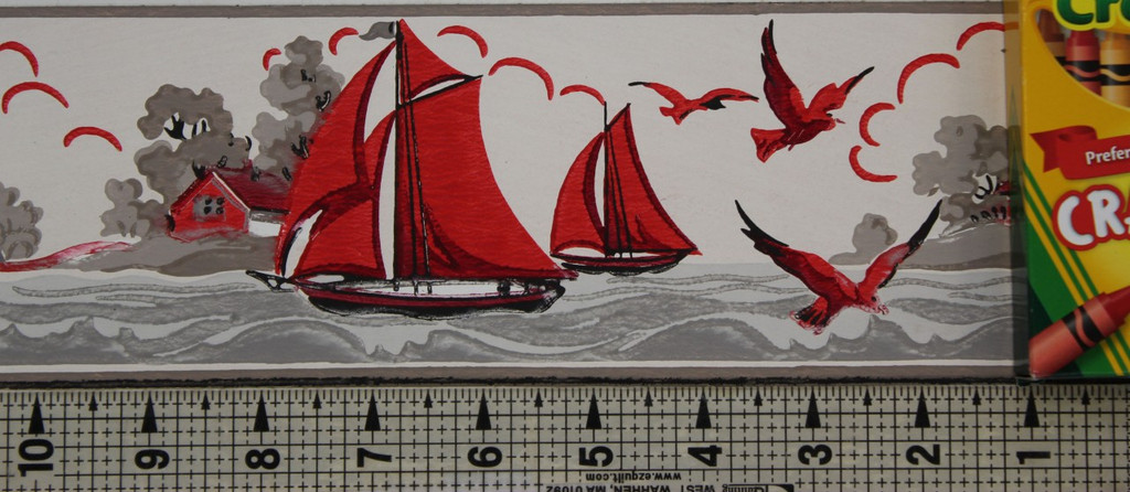 Duro Vintage Wallpaper Border Lighthouse and Sailboats