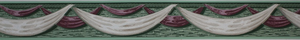 Duro Vintage Wallpaper Border Maroon and White Swags