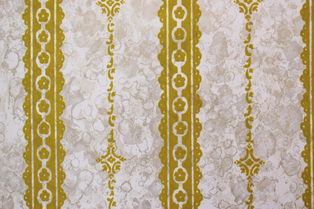 1970s Vintage Wallpaper Gold Green Flocked on Marble