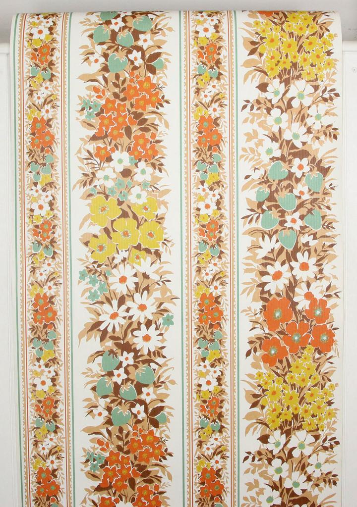 1970s Vintage Wallpaper Orange and Turquoise Floral Vinyl