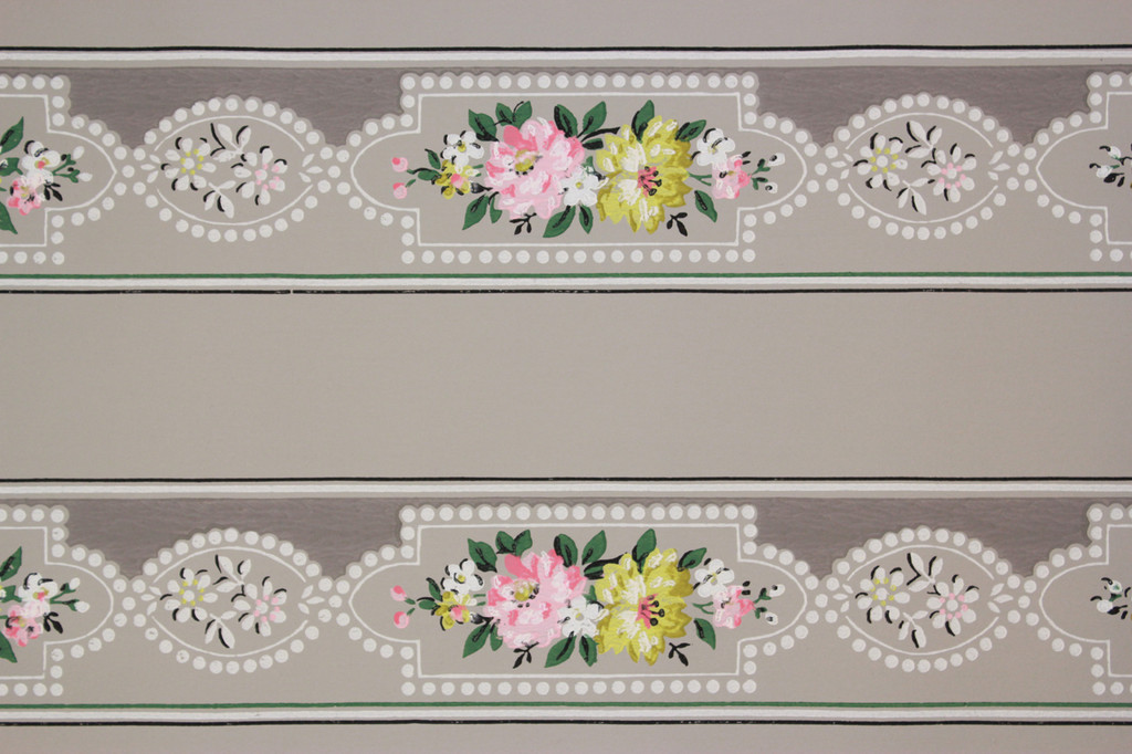 1940s Vintage Wallpaper Border Pink and Yellow Flowers on Gray