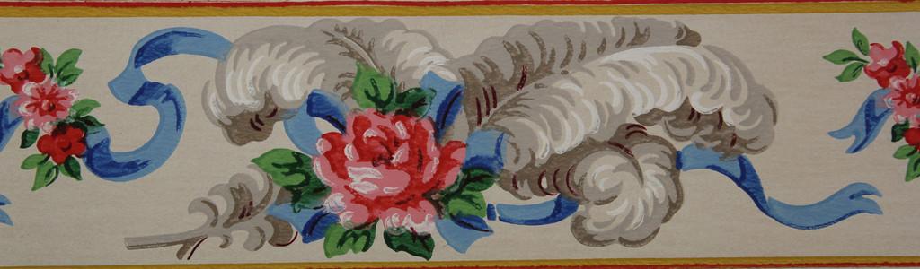 Duro Vintage Wallpaper Border Rose and Ribbon