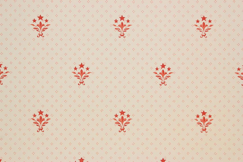 1940s Vintage Wallpaper Red Fleur de lis
