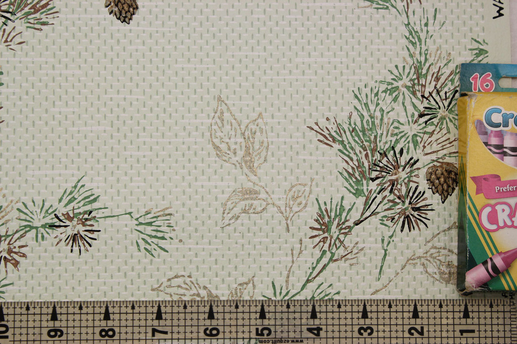 1950s Vintage Wallpaper Botanical Pine Tree Branch Cones