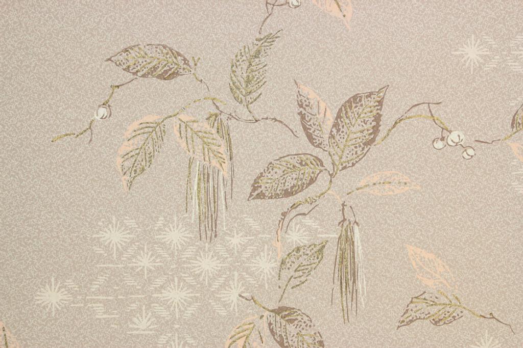 1950s Vintage Wallpaper Mid Century Gold Leaves on Beige