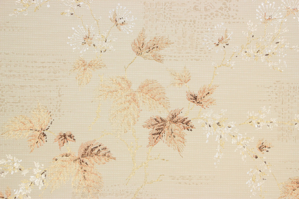 1950s Vintage Wallpaper Mid Century Leaves on Off-White