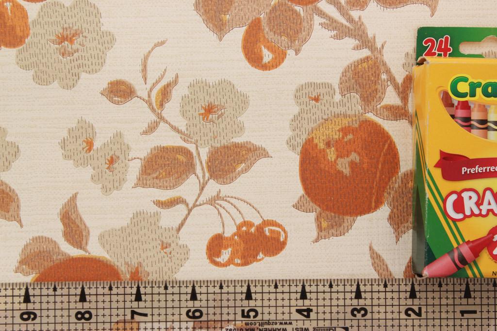 1970s Vintage Wallpaper Fruit Flowers Orange