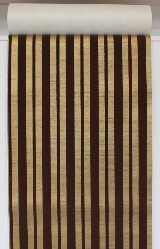 1970s Vintage Wallpaper Brown Flocked Stripe on Gold
