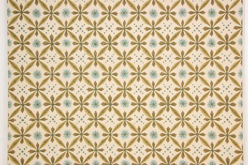 1950s Vintage Wallpaper Blue Green Brown Geometric
