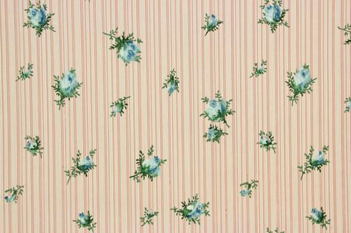 1940s Vintage Wallpaper Blue Rosebuds on Pink Stripe