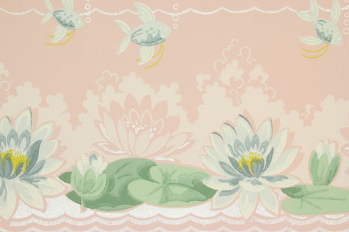1940s Vintage Wallpaper Blue Water Lilies on Pink