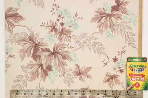 1930s Vintage Wallpaper Brown and Green Leaves