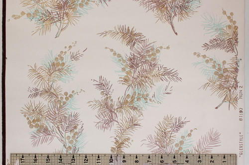 1950s Vintage Wallpaper Pine Needles Berries
