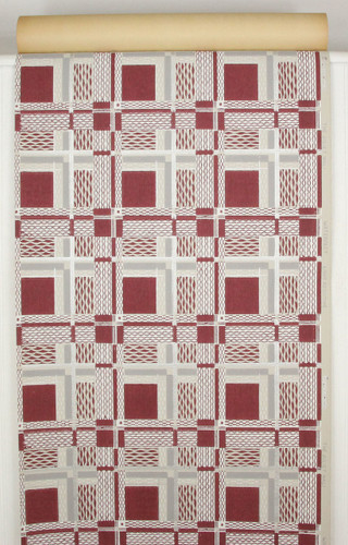 1940s Vintage Wallpaper Maroon Gray and Silver Metallic Tiles