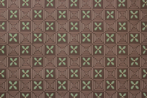 1950s Vintage Wallpaper Green Geometric on Brown
