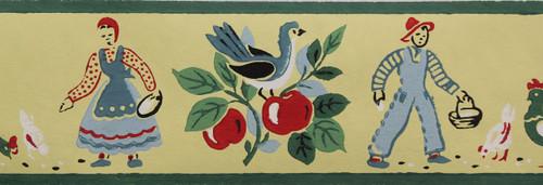 Kem-Decorator Vintage Wallpaper Border Farmyard