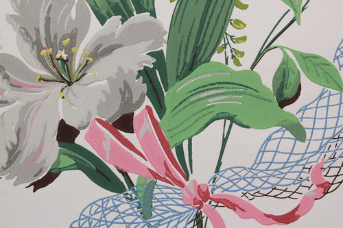 1950s Vintage Wallpaper Large White and Pink Flowers with Ribbon