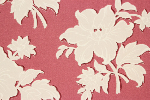 1940s Vintage Wallpaper Large White Floral on Red