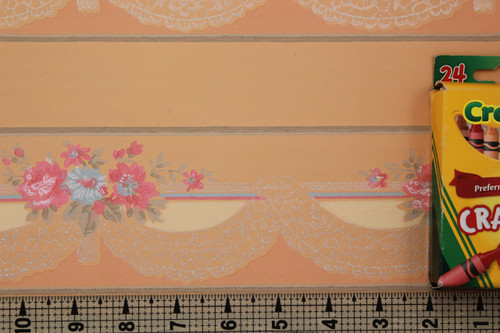 1940s Vintage Wallpaper Border Pink and Blue Flowers Lace Swag