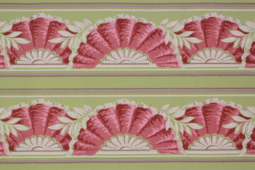 1940s Vintage Wallpaper Border Pink Fan