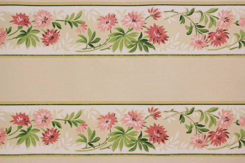 1940s Vintage Wallpaper Border Pink Flowers