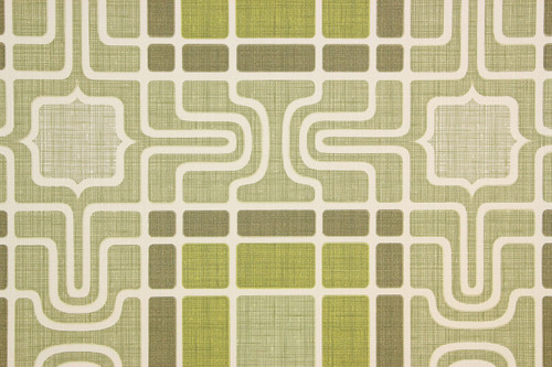 1970s Vintage Wallpaper Retro Geometric Green