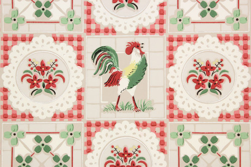 1940s Vintage Wallpaper Roosters on Gray
