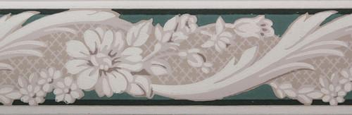 Trimz Vintage Wallpaper Border Rococo Green