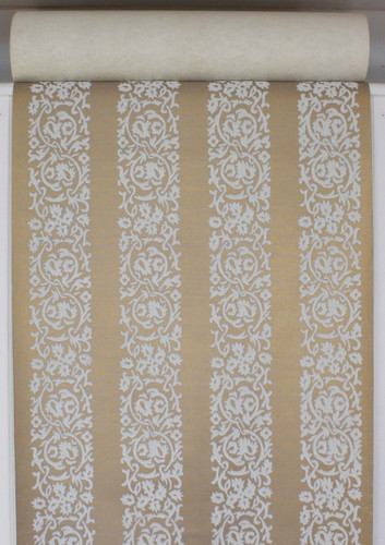 1970s Vintage Wallpaper White Floral Flocked Stripe on Gold