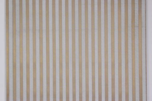 1970s Vintage Wallpaper White Flocked Stripe on Gold