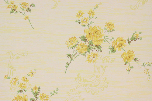 1960s Vintage Wallpaper Yellow Roses and Scrolls