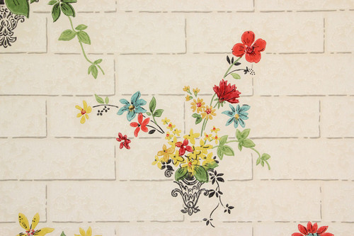 1930s Vintage Wallpaper Flower Bouquets on Tile