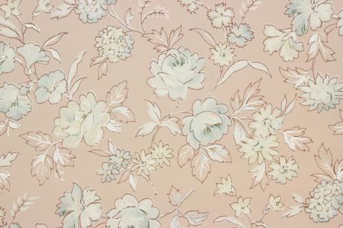 S Vintage Wallpaper Blue Roses On Pink Rosies Vintage Wallpaper