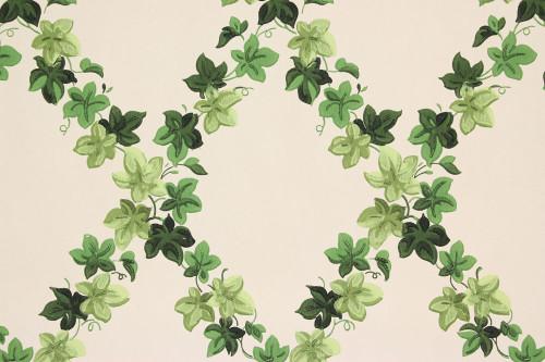 1940s Vintage Wallpaper Ivy Lattice